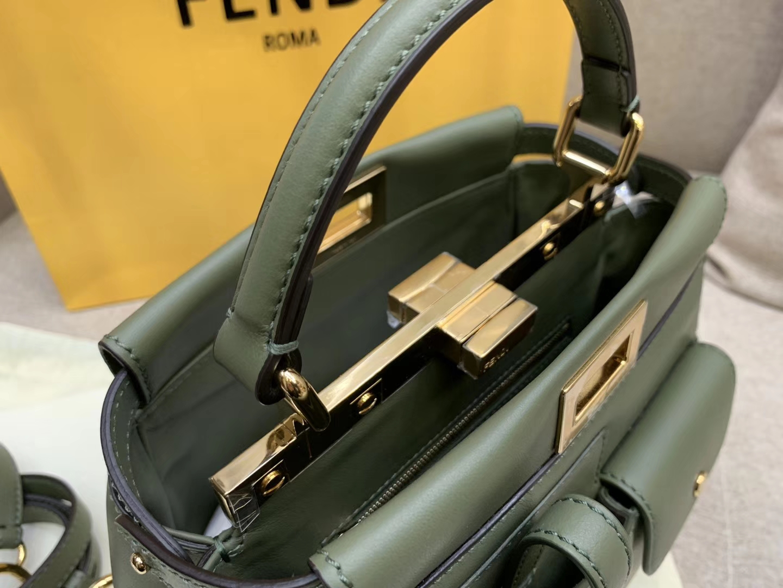 Fendi 芬迪 Peekaboo 手袋 完美气场 墨绿色口袋小猫包