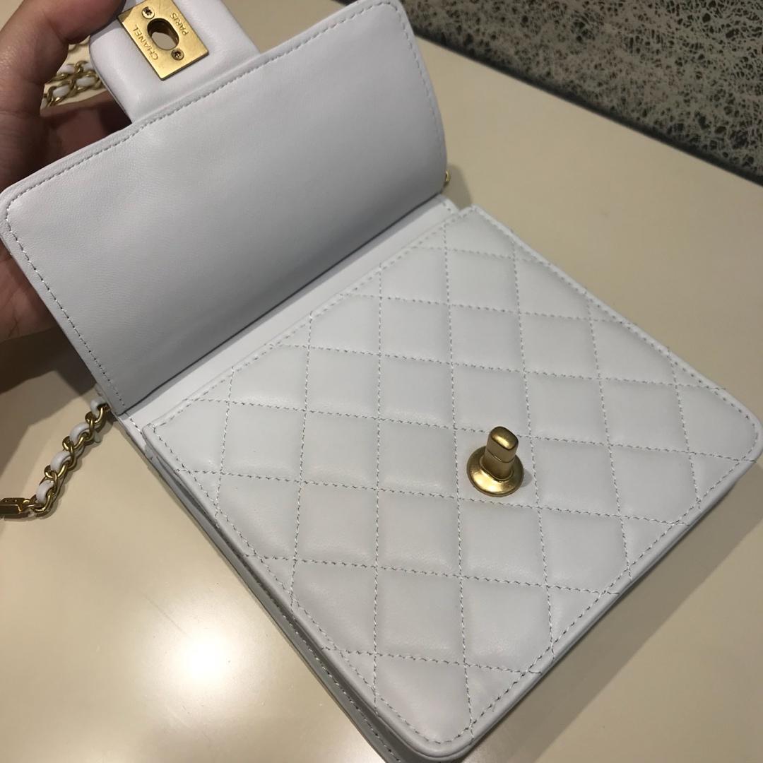 Chanel 香奈儿 新款链条珍珠包小号 进口小羊皮 白色  沙金