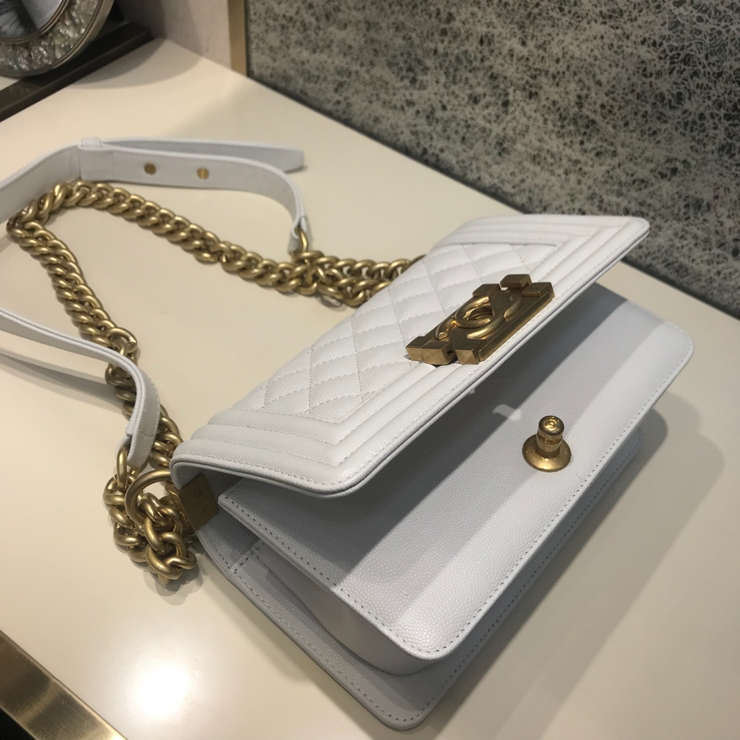 Chanel Leboy 代购版本 20cm 小鱼子酱 白色 磨纱金  少量现货