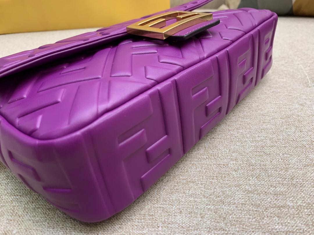 Fendi 芬迪 Baguette FF 浮雕系列 26x13x6cm 进口小羊皮 紫色
