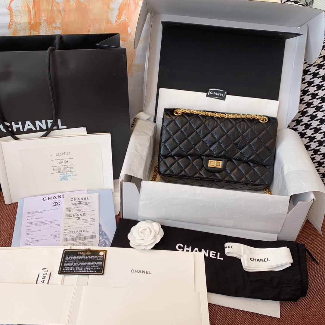 Chanel 香奈儿 复刻2.55 渠道代购版本 28cm 原厂皮 黑色 磨砂金扣
