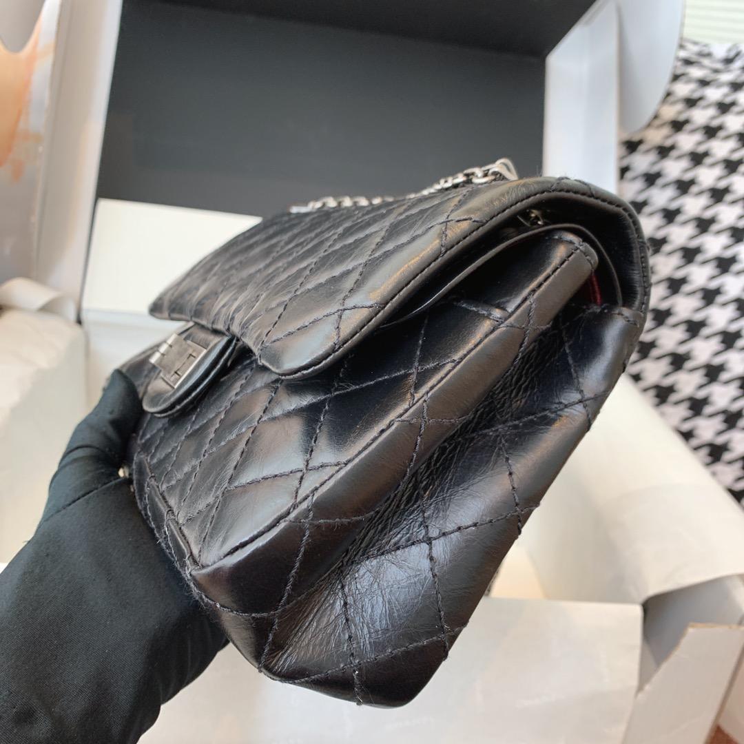 Chanel 香奈儿 复刻2.55 渠道代购版本 25cm 原厂皮 黑色 古银扣