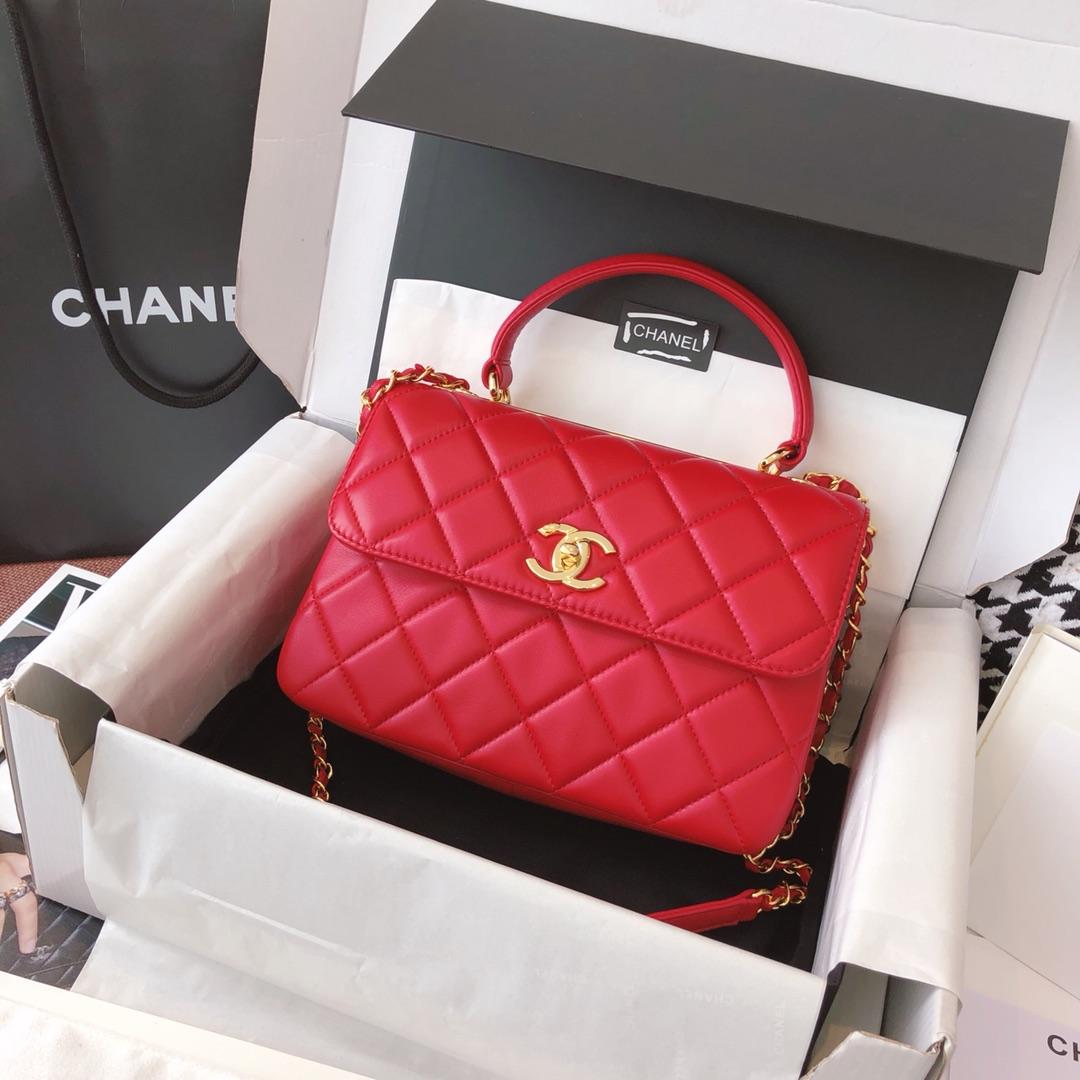 Chanel 香奈儿 TrendyCC 原厂进口小羊皮 大红色 25cm