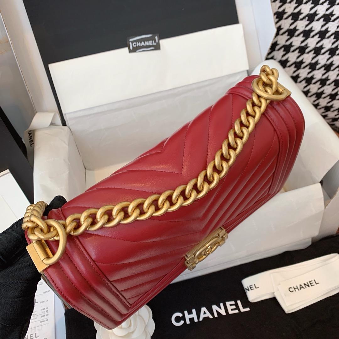 Chanel 香奈儿真品级 原厂bodin joyeux 羔羊皮 酒红色 磨砂金扣