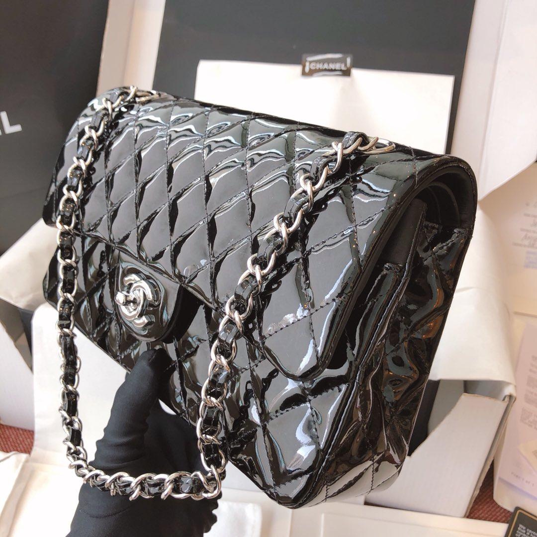 Chanel 香奈儿 真品级 原厂漆皮 Classic Flap 代购版本 25cm 黑色 银扣