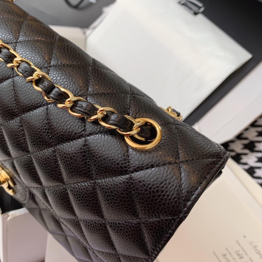 Chanel 香奈儿 黑色 金扣 法国原厂Haas球纹鱼子酱牛皮25cm