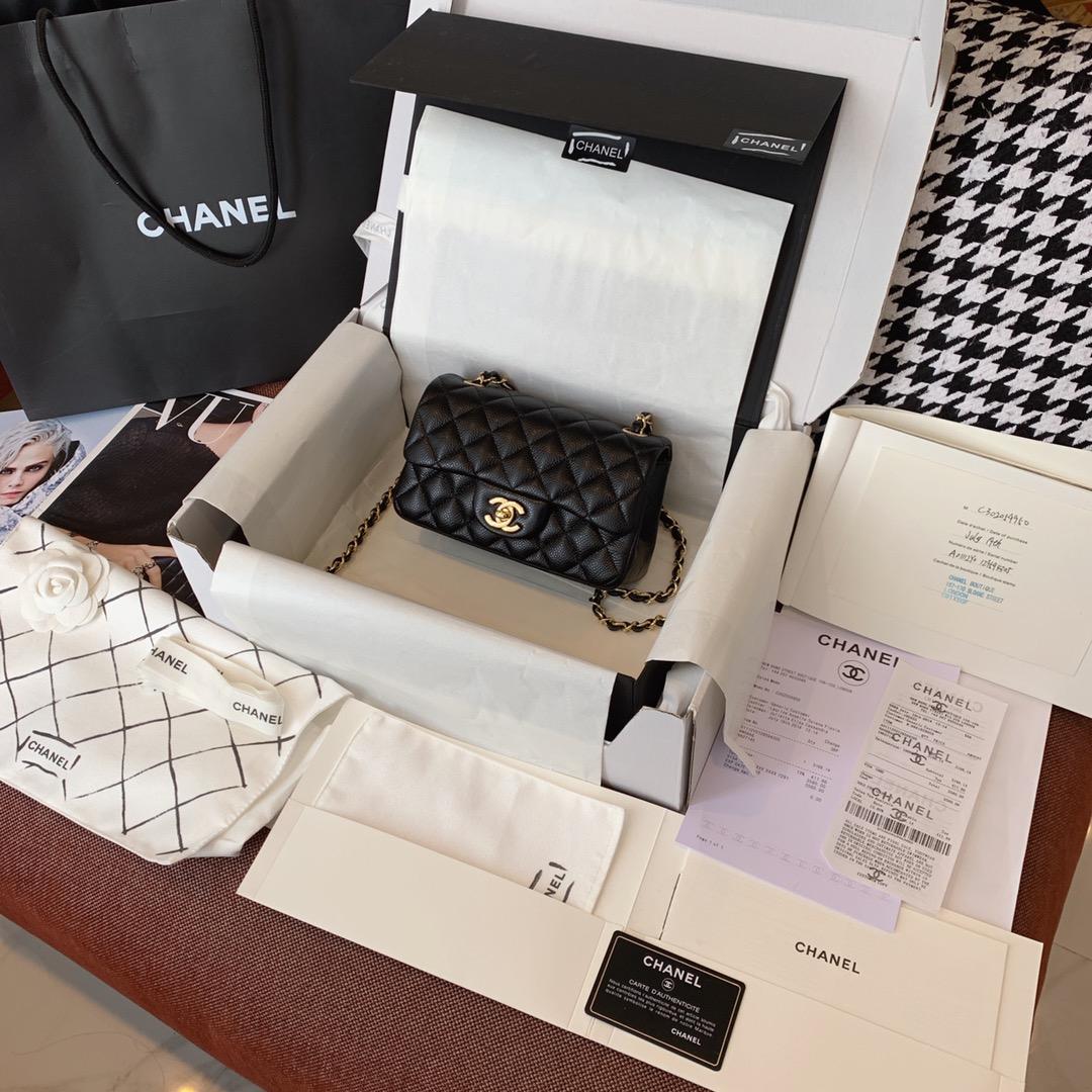 Chanel 香奈儿 黑色 金扣 CF20cm 法国原厂Haas球纹鱼子酱牛皮