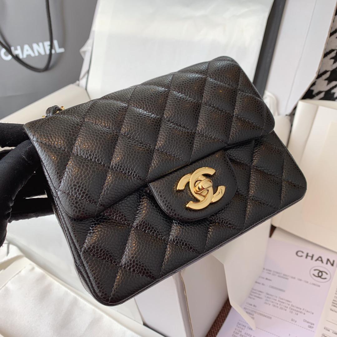 Chanel 香奈儿 黑色 金扣 法国原厂Haas球纹鱼子酱牛皮17cm
