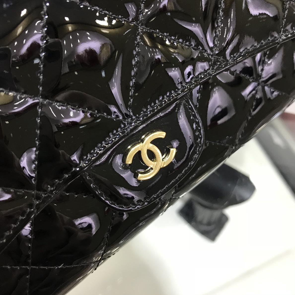 Chanel 香奈儿 长夹钱包 进口漆皮~黑色金扣