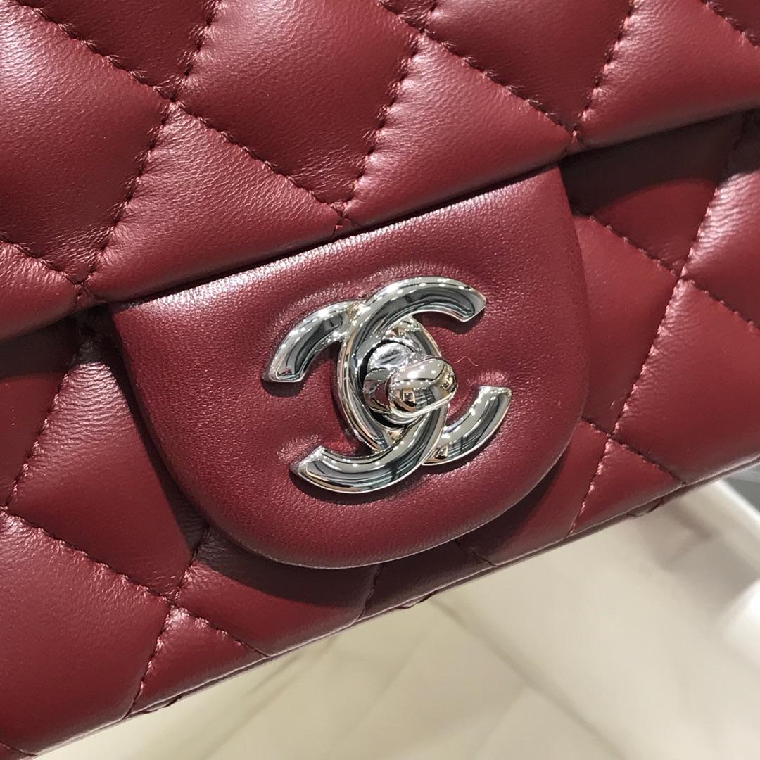 Chanel 香奈儿CF 方胖子 进口小羊皮 枣红银扣