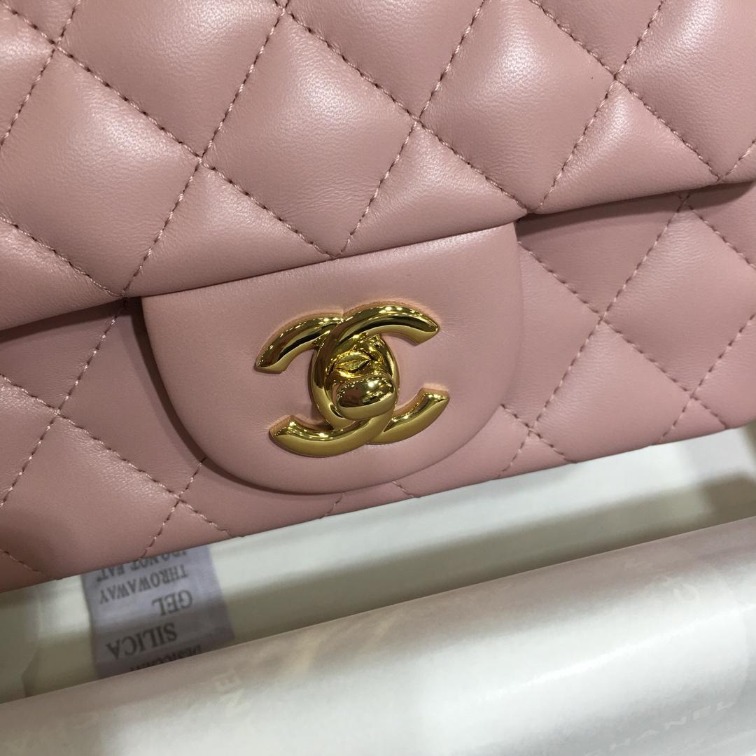 Chanel 香奈儿CF~方胖子~进口小羊皮~浅粉金扣~