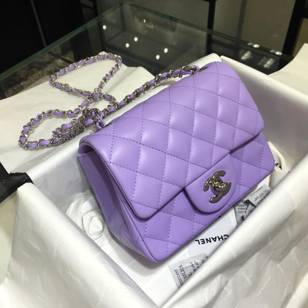 Chanel 香奈儿CF~方胖子~进口小羊皮~薰衣草紫银扣