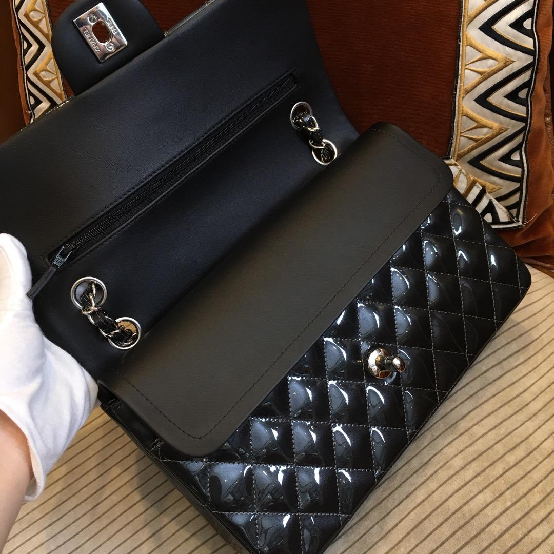 Chanel 香奈儿 Classic Flap 代购版本 25cm 进口漆皮 星空灰 银扣
