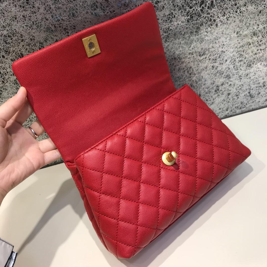 Chanel 香奈儿 CoCo Handle 顶级代购版 23cm 原厂小牛皮 球纹手柄 红色 沙金