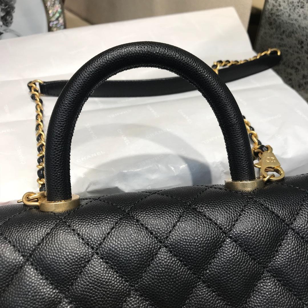 Chanel 香奈儿 CoCo Handle 顶级代购版 23cm~原厂小牛皮~球纹手柄~黑色~沙金