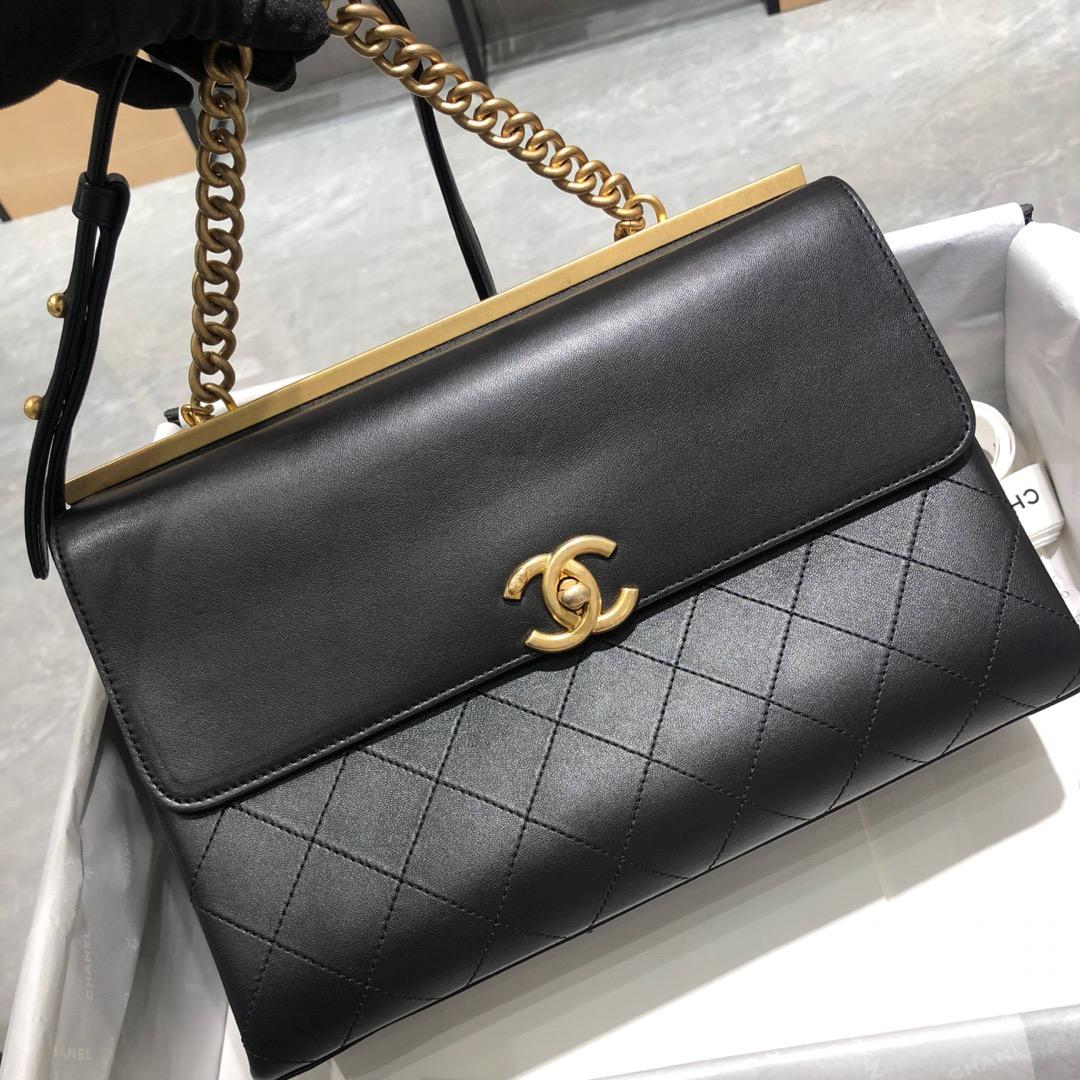 Chanel 香奈儿 口盖包 28cm 小羊皮 黑色