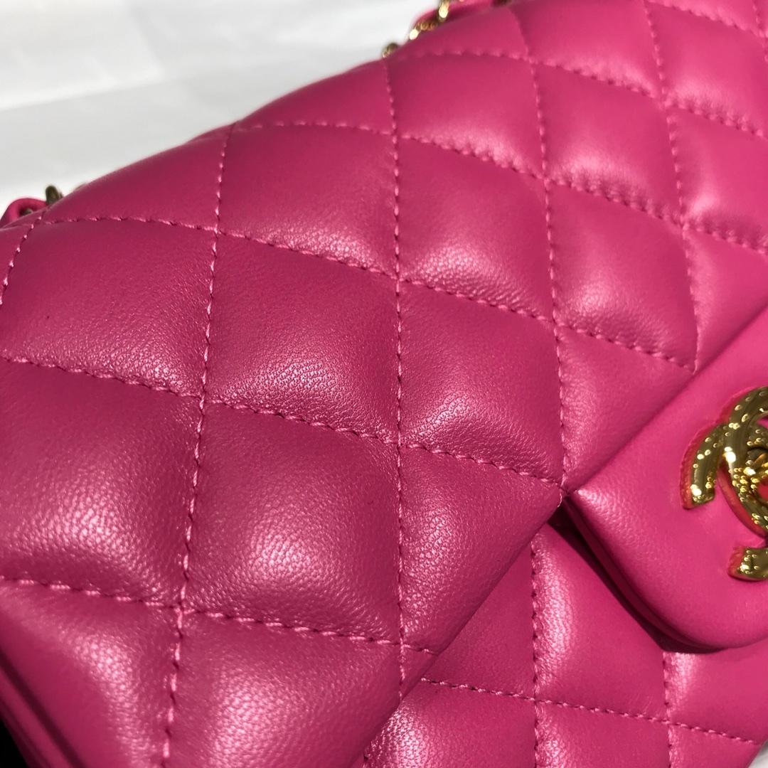 Chanel 香奈儿 Classic Flap 20cm 小羊皮真空电镀纯铜五金~ 玫红色~香槟金色