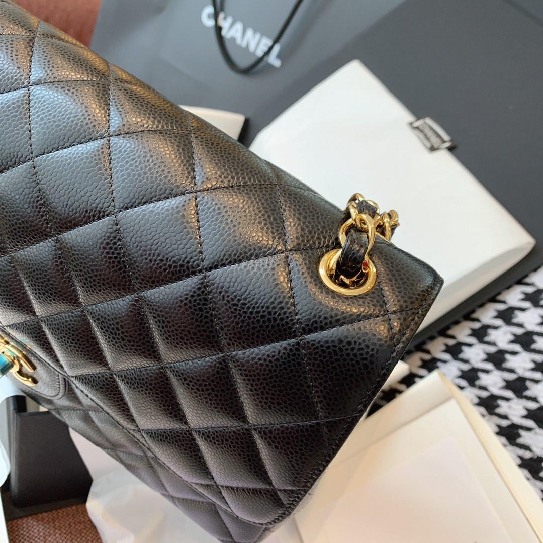 【正品级】经典黑色金扣 Chanel CF 法国原厂Haas球纹鱼子酱牛皮 30cm
