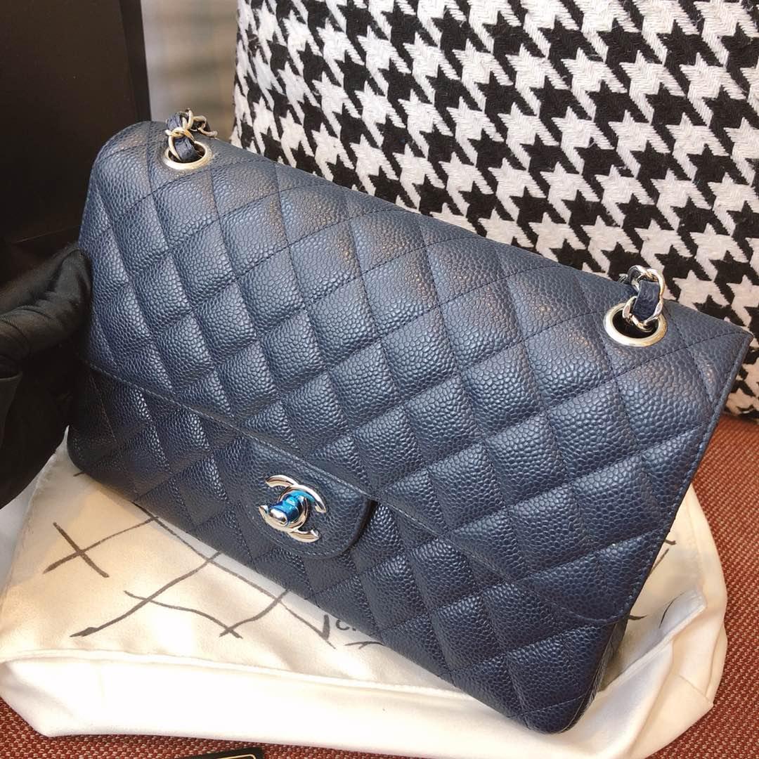 【正品级】海军蓝 银扣 Chanel CF 法国原厂Haas球纹鱼子酱牛皮 25cm ~原厂皮