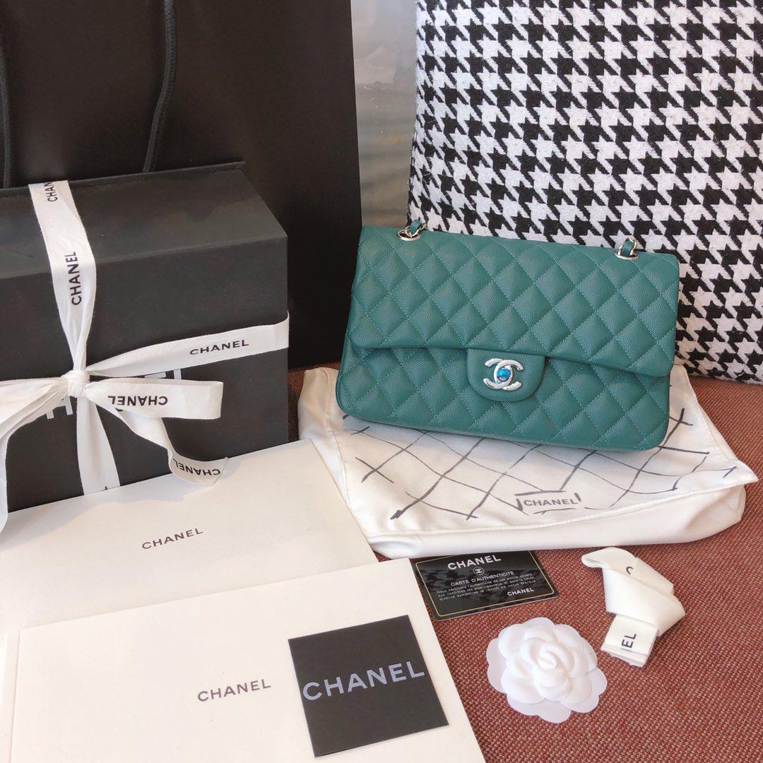 【正品级】孔雀绿 银扣 Chanel CF 法国原厂Haas小球纹小鱼子酱牛皮 25cm 原厂皮