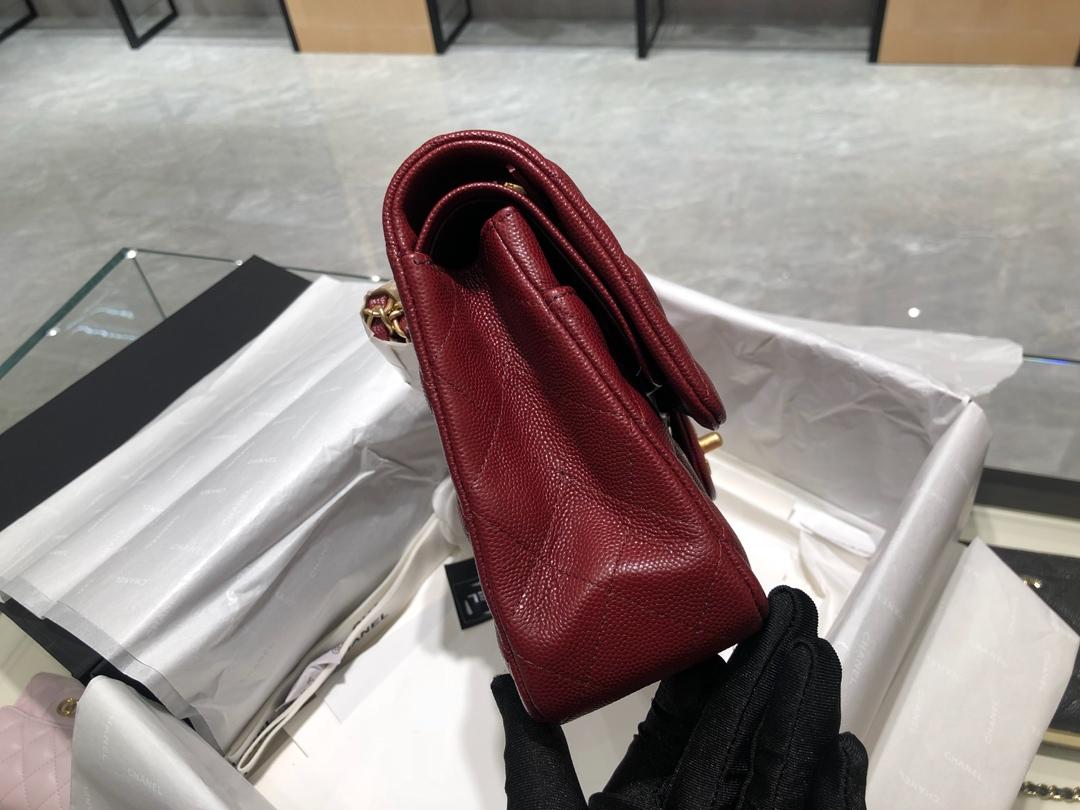 【正品级】枣红 磨砂金扣 ChanelCF 法国原厂Haas小球纹小鱼子酱牛皮25cm