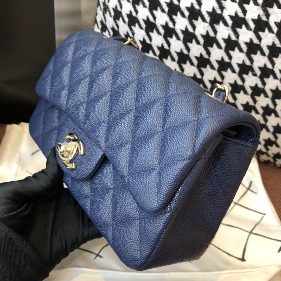 【正品级】 Chanel CF 法国原厂Haas球纹小鱼子酱牛皮 20cm 海军蓝—香金扣