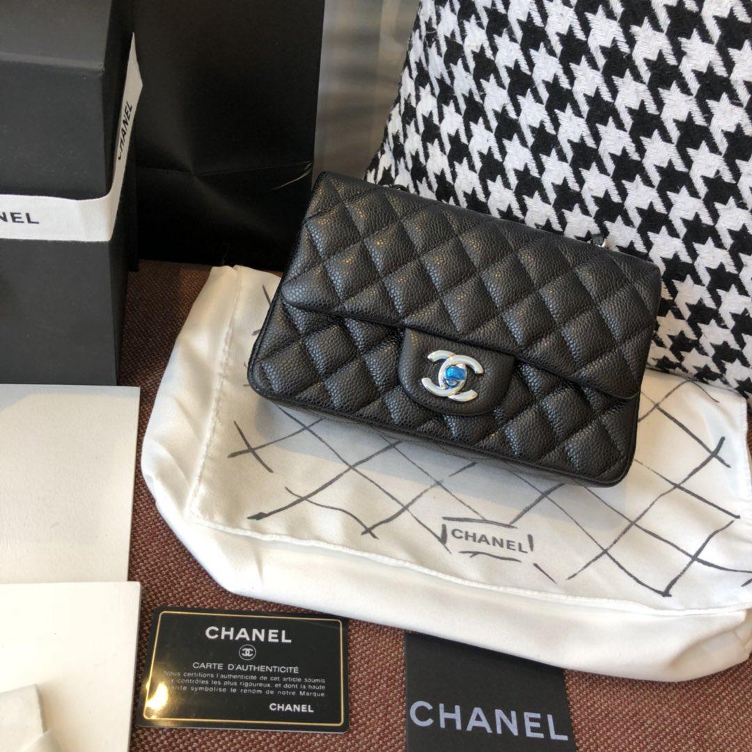 【正品级】 Chanel CF 法国原厂Haas球纹鱼子酱牛皮 20cm 原厂皮 黑色—银扣