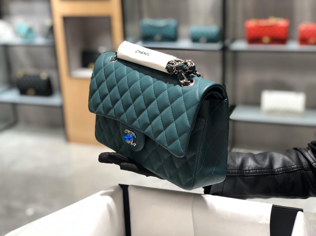 孔雀绿-银扣~ChanelCF 法国原厂Haas小球纹小鱼子酱牛皮25cm~原厂皮