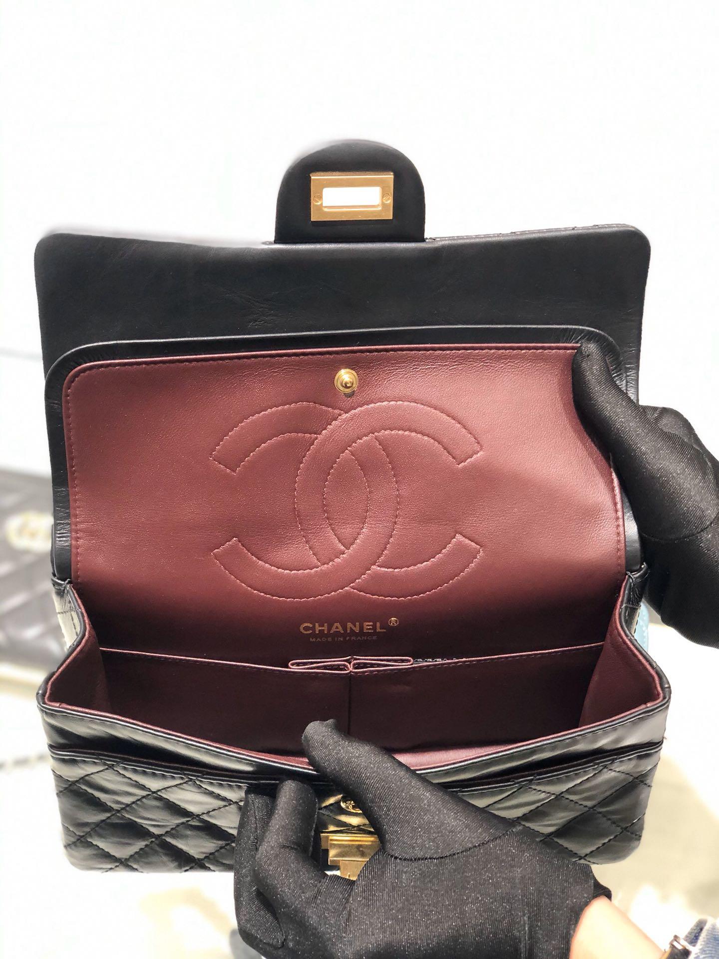 Chanel 香奈儿正品级《复刻2.55系列》25cm~进口树羔皮~黑色~沙金扣