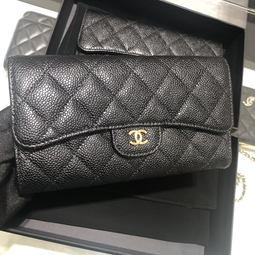 Chanel 香奈儿 长夹钱包 进口牛皮鱼子酱~黑色金扣~有少量现货