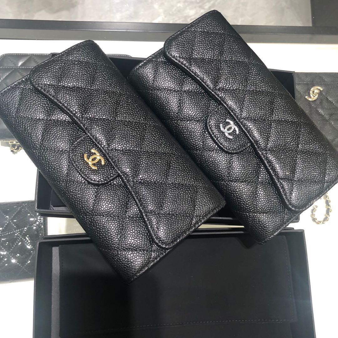 Chanel 香奈儿 长夹钱包 进口牛皮鱼子酱~黑色银扣 现货