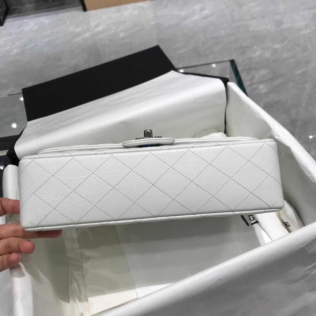 小香官网 《Classic Flap》 代购版本 25cm 进口鱼子酱 白色 银扣