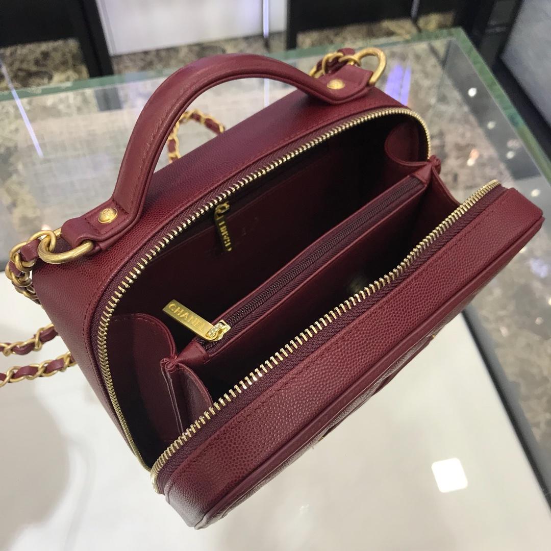 中国香奈儿官网《化妆包》21cm 原厂皮小鱼子酱枣红色~细节图