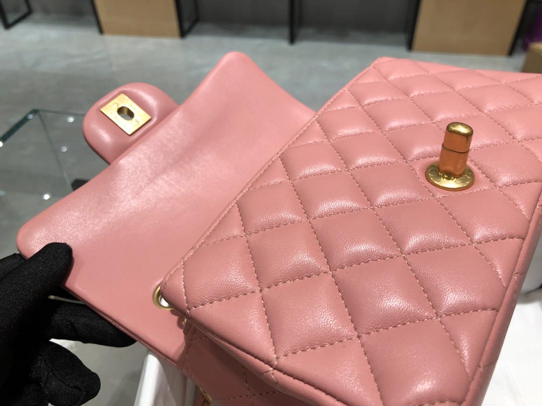 香奈儿香港官网【真品级】原厂《Chanel》CFmini~代购版本20cm~原厂小羊皮~樱花粉~砂金扣
