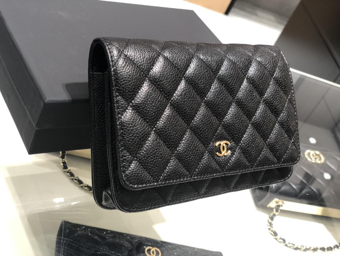 Chanel中国官网《Woc发财包》代购版本19cm~原厂进口皮~鱼子酱~黑色