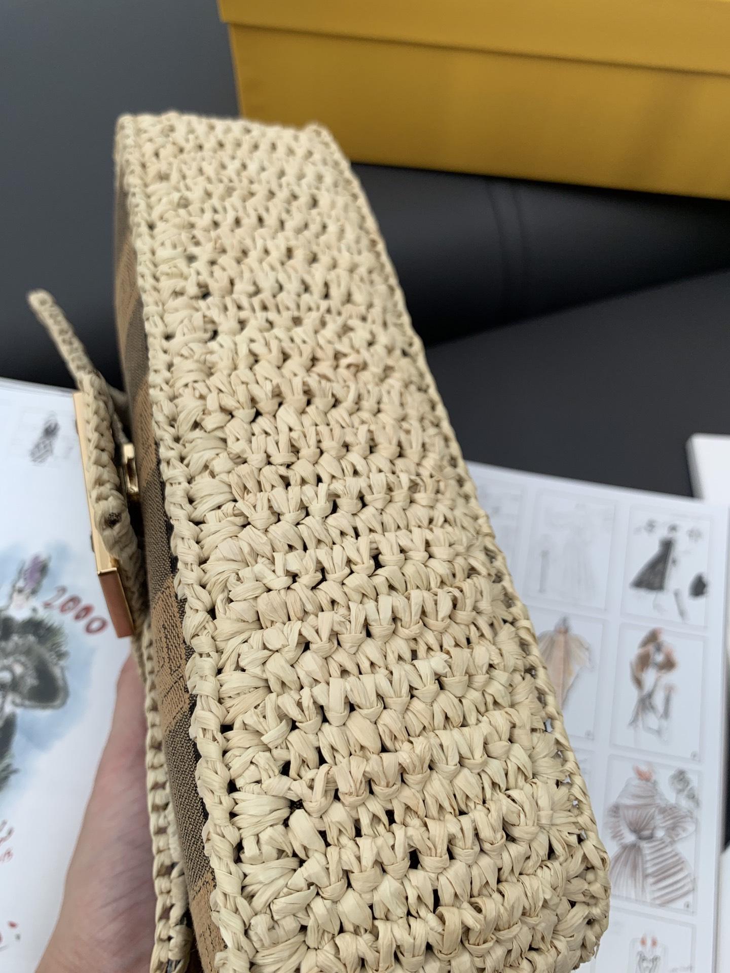 法棍 现货 宽带子 拉菲草编织拼接布面 自带高级感 26cm
