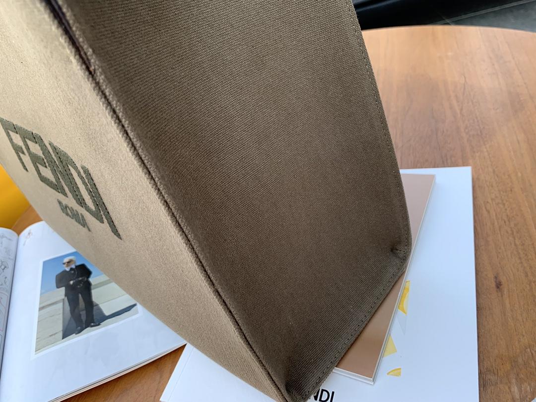 最新.购物袋 深绿色的帆布 FDROMA图案刺绣 复古又高级 41x30x16cm