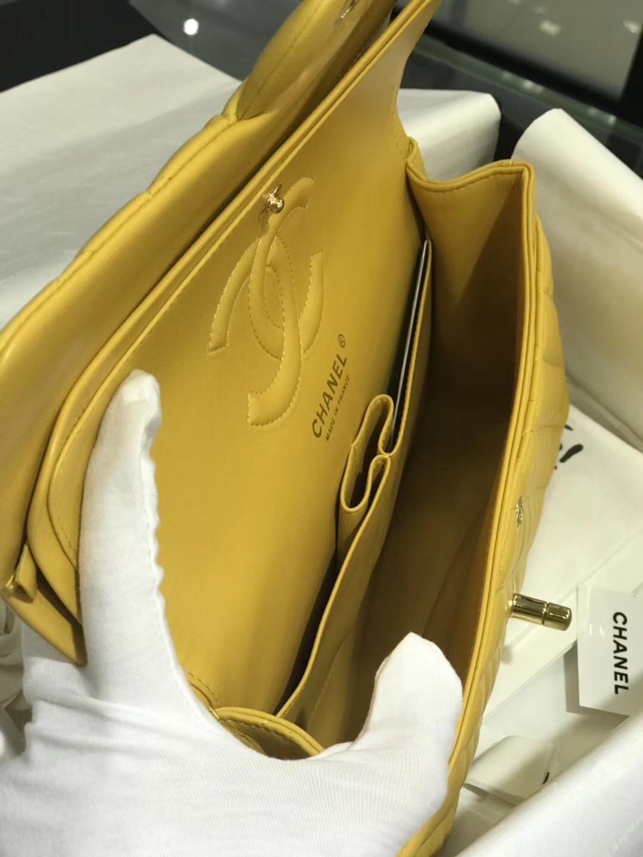 香奈儿中国官网 【真品级】《Chanel》CF中号~代购版本25Cm~原厂小羊皮~芒果黄~金扣~