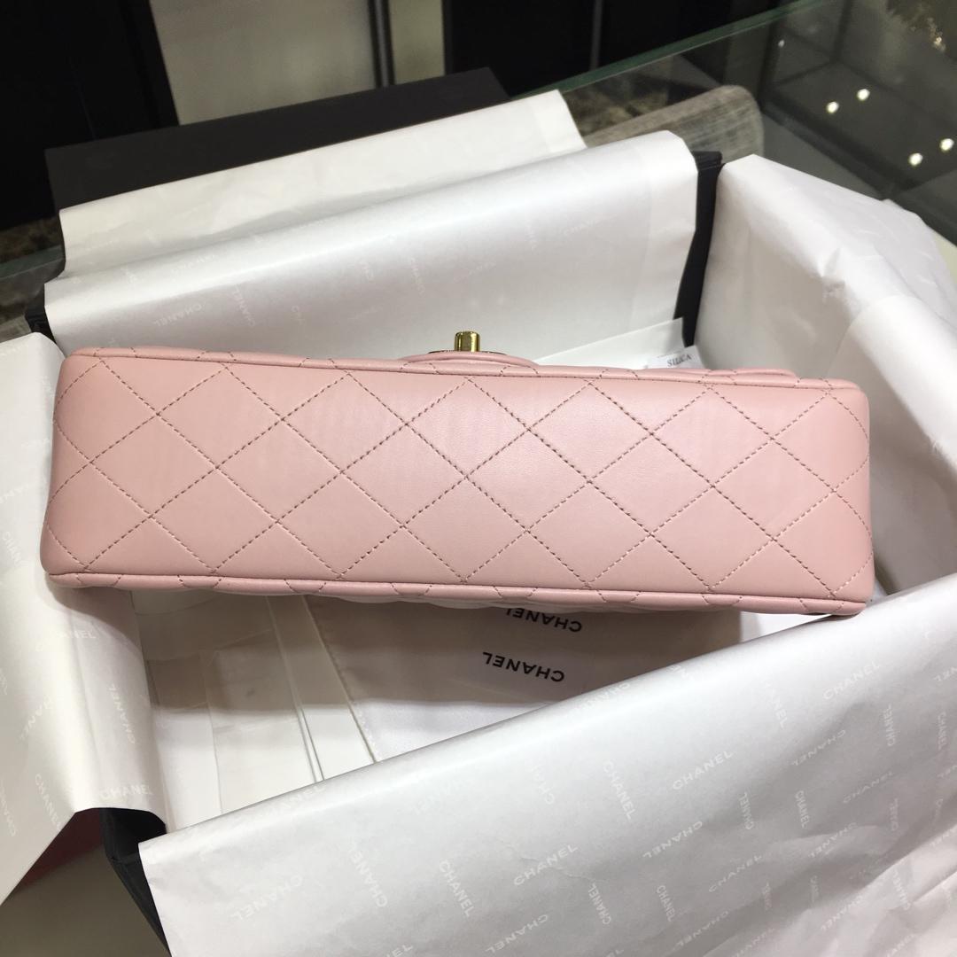 香奈儿【真品级】《Chanel》CF中号~代购版本25Cm~原厂小羊皮~浅粉色~金扣~