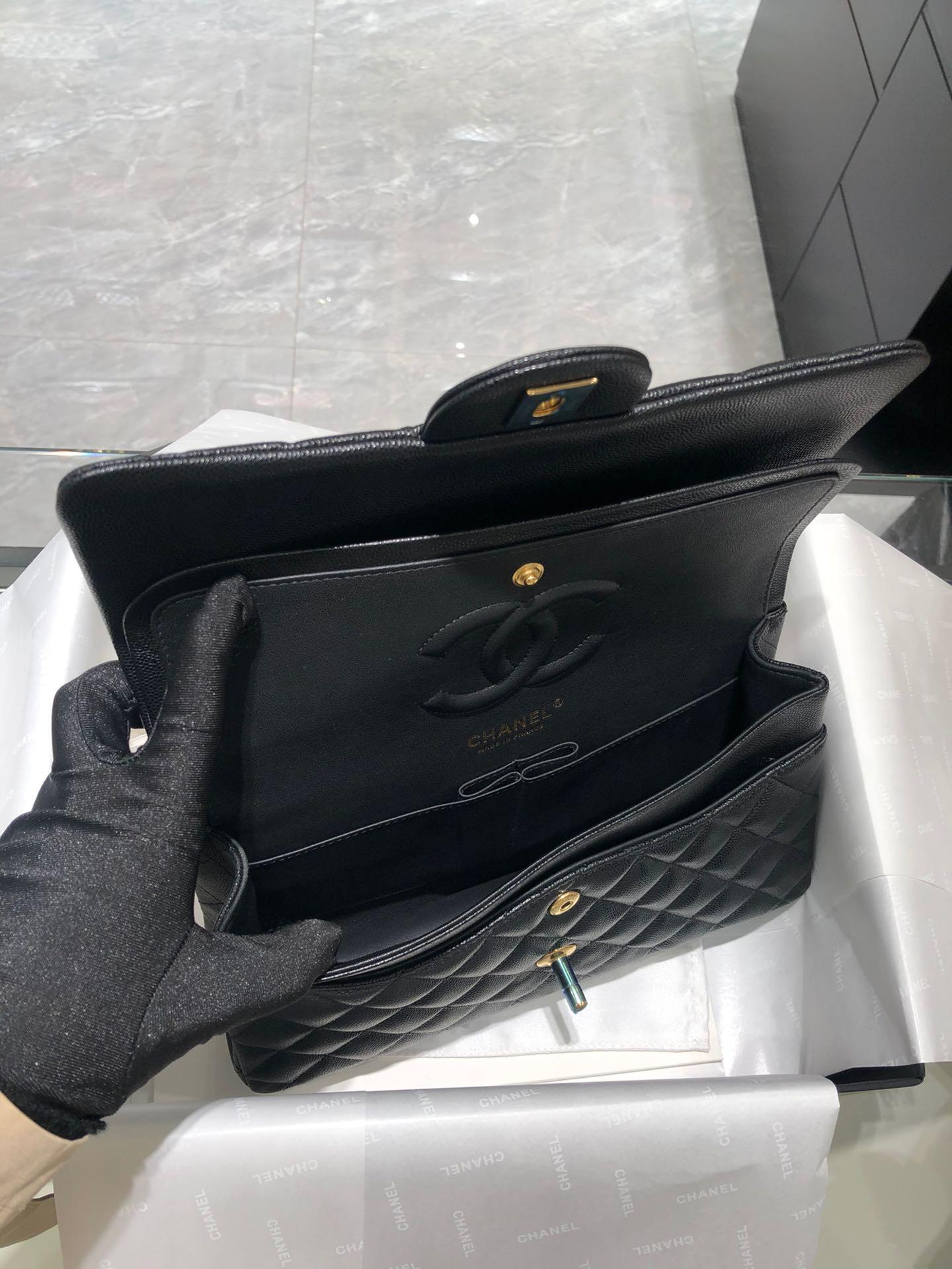 Chanel 香奈儿【真品级】黑色-金扣~CF中号~原厂小鱼子酱牛皮 25cm~原厂进口五金~现货