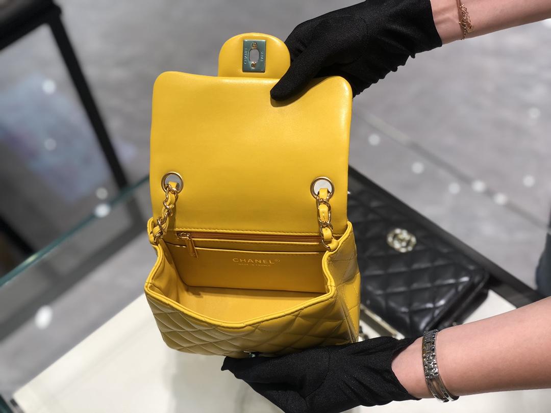 香奈儿《Classic Flap》代购版本 17cm~进口羊皮~黄~金扣 ~只有少量现货