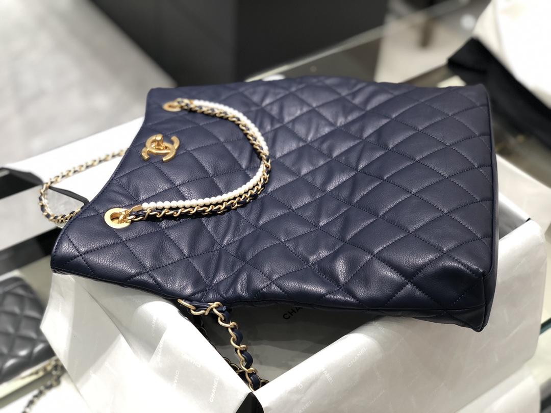 2021小香秋冬新款珍珠链条包购物袋~高级的百搭黑色可折叠手拿包手提单肩 小挎包 原厂小牛皮一包三用 34-26-5Cm 现货
