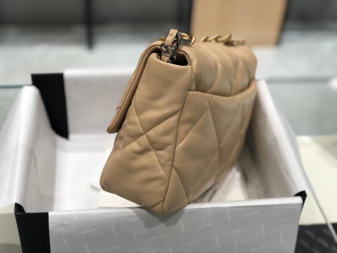Chanel 香奈儿 19手提中号进口山羊皮2019秋冬新季系列 宽格纹粗链条翻盖包  20:30:10全套包装