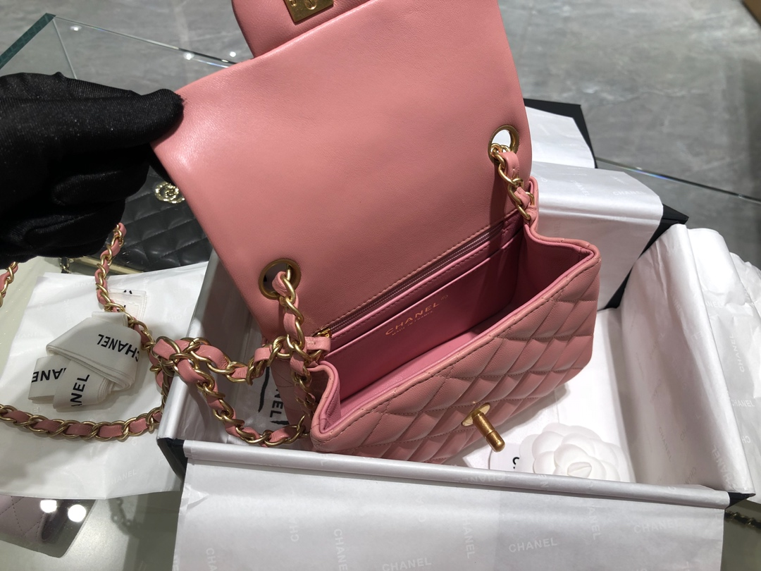 Chanel 香奈儿【真品级】CF方胖子 代购版本17cm 原厂小羊皮 樱花粉 砂金扣