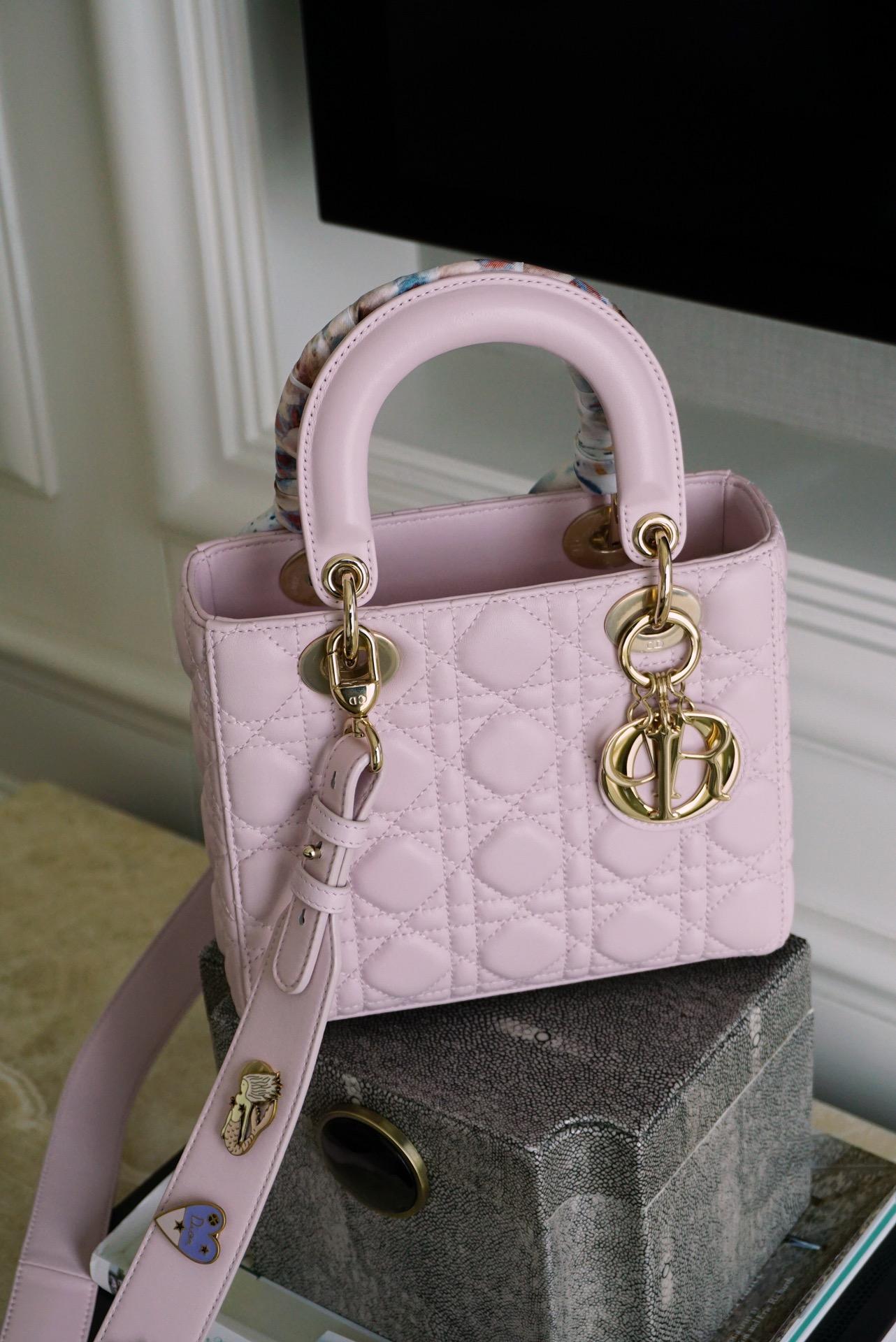Dior 迪奥 四格 淡粉色 金扣 小羊皮 优雅又少女 戴妃包 Lady Dior