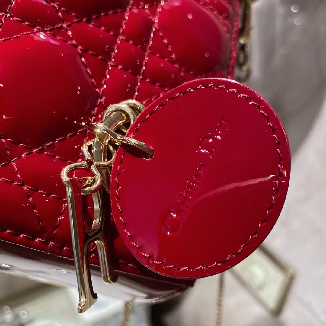 DIOR迪奥 三格 17cm 新酒红 现货 适合四季 戴妃包 Lady Dior