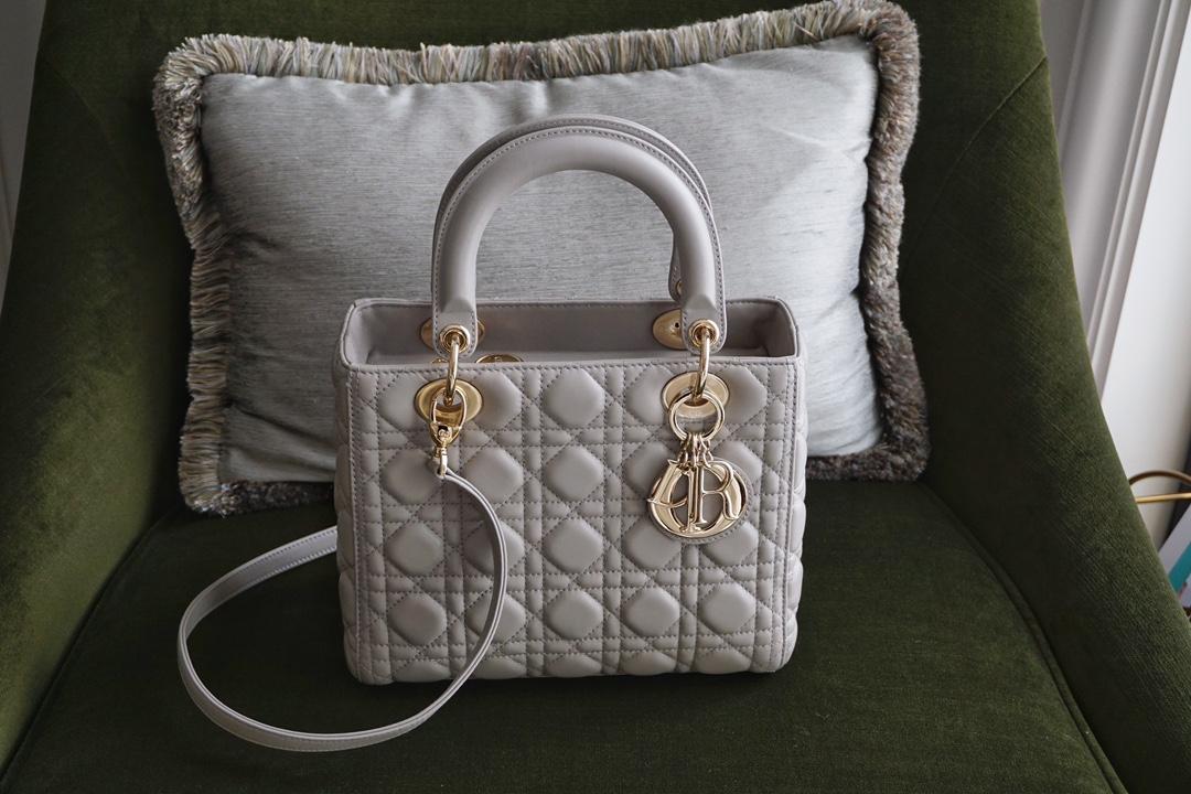 DIOR 迪奥 五格 戴妃包 Lady Dior 灰羊金 优雅大方