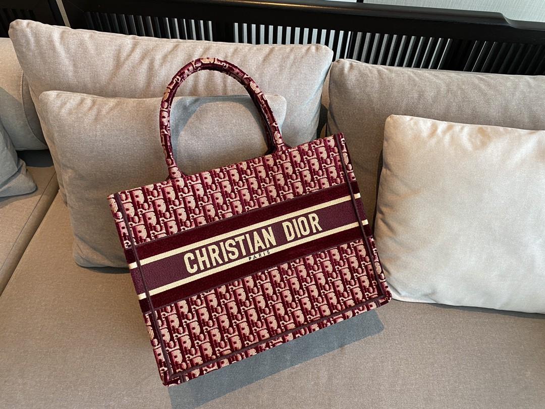 Dior 迪奥 购物袋丝绒 红D 大号/41.5cm