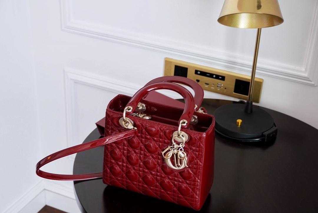 Dior 迪奥 戴妃包 五格/24cm 新酒红 漆皮 金扣 颜色好看-怎么搭都不会出错!