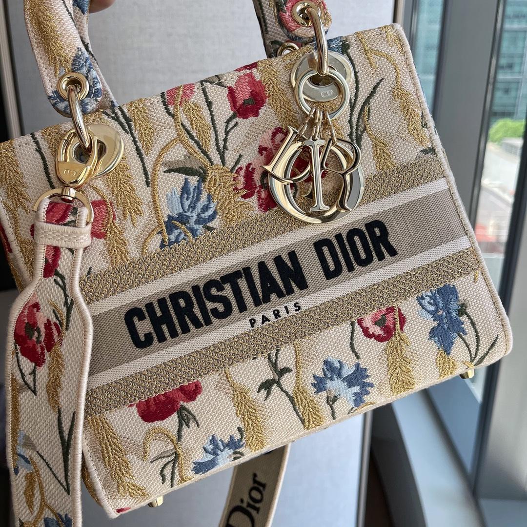 Dior 迪奥 五格/24cm 扶桑花 实拍呈上,现货 重工刺绣花卉 大写的美貌~